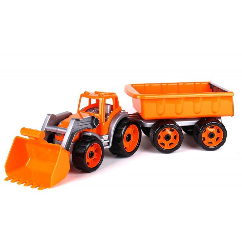 """Трактор с ковшом и прицепом ТехноК (оранжевый) купить в магазине """"Пустун"""""""