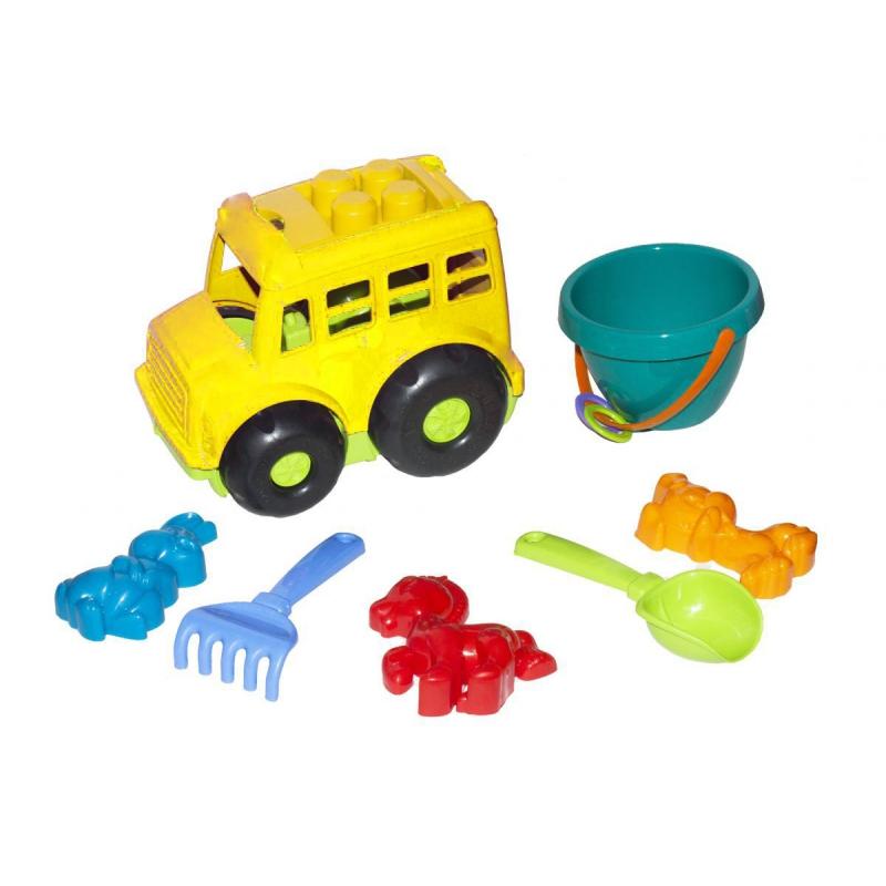 """Автобус Бусик №3 с песочным набором желтый 0107 купить в магазине """"Пустун"""""""