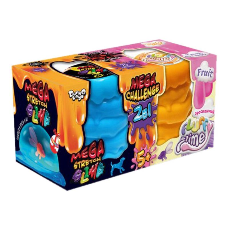"""Набор слаймов """"2 в 1: Mega Stretch Slime & Fluffy Slime"""" укр FLS-03-01U купить в магазине """"Пустун"""""""