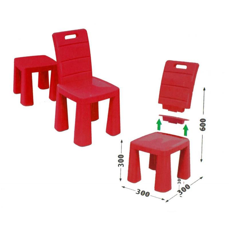 """Пластиковый стульчик-табурет (красный) 04690/5 купить в магазине """"Пустун"""""""