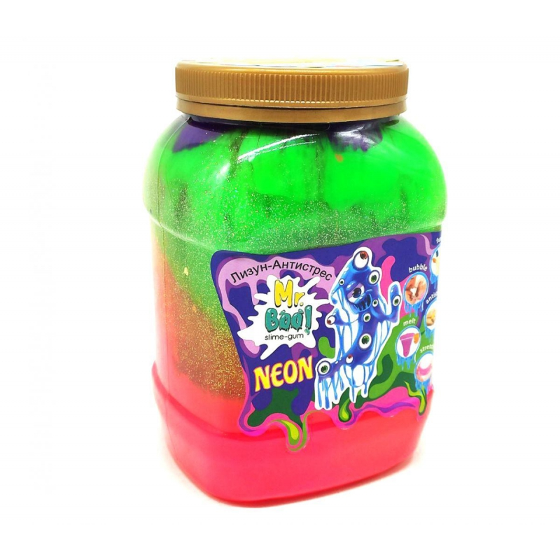 """Лизун-антистресс """"Mr. Boo: Neon"""", 1000 г (разноцветный) 80051 купить в магазине """"Пустун"""""""