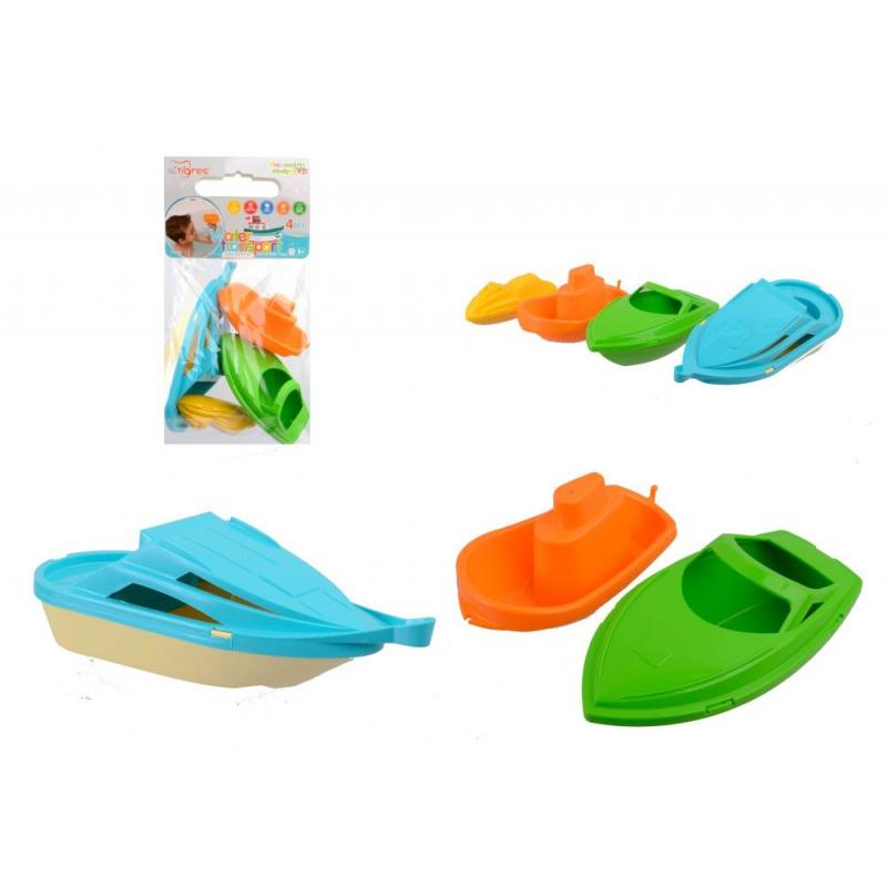"""Набор игрушек для купания TIGRES Водный транспорт 4 штуки (39546) купить в магазине """"Пустун"""""""
