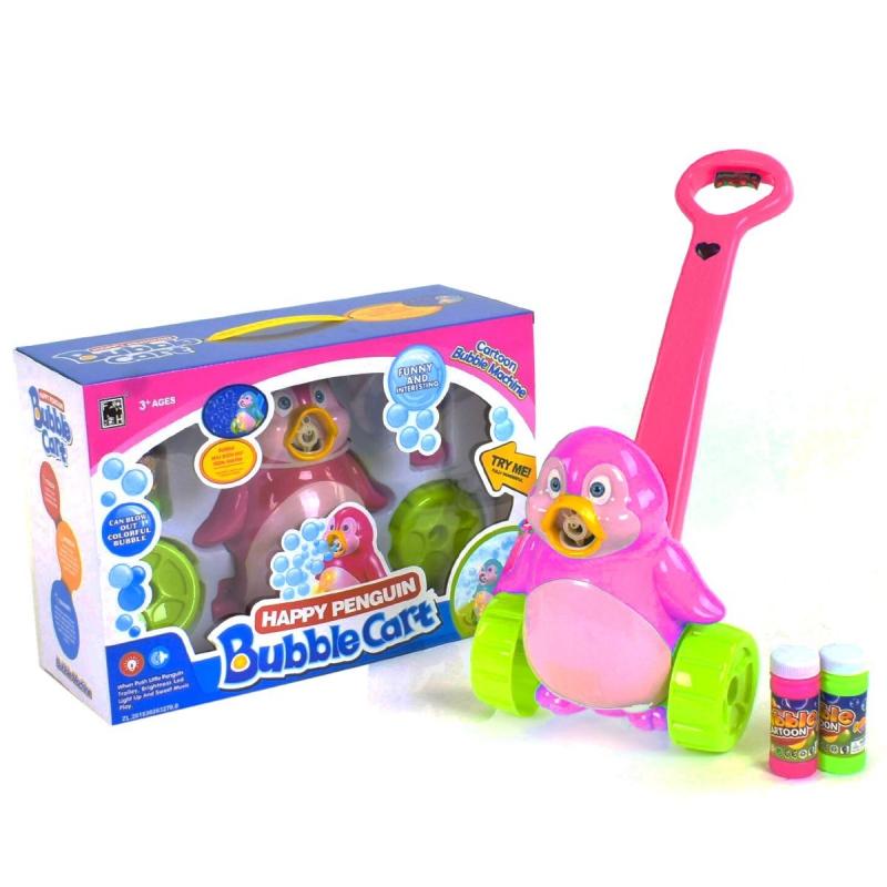 """Каталка с мыльными пузырями """"Пингвин"""" розовый FH776 купить в магазине """"Пустун"""""""