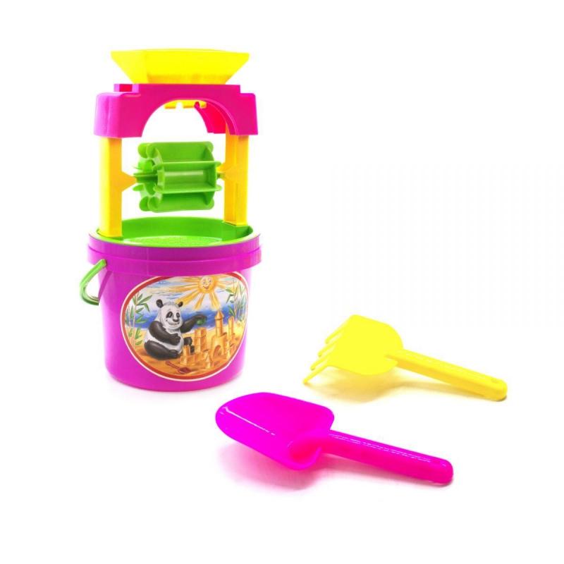 """Песочный набор """"Панда"""" с мельницей розовый 0439 купить в магазине """"Пустун"""""""