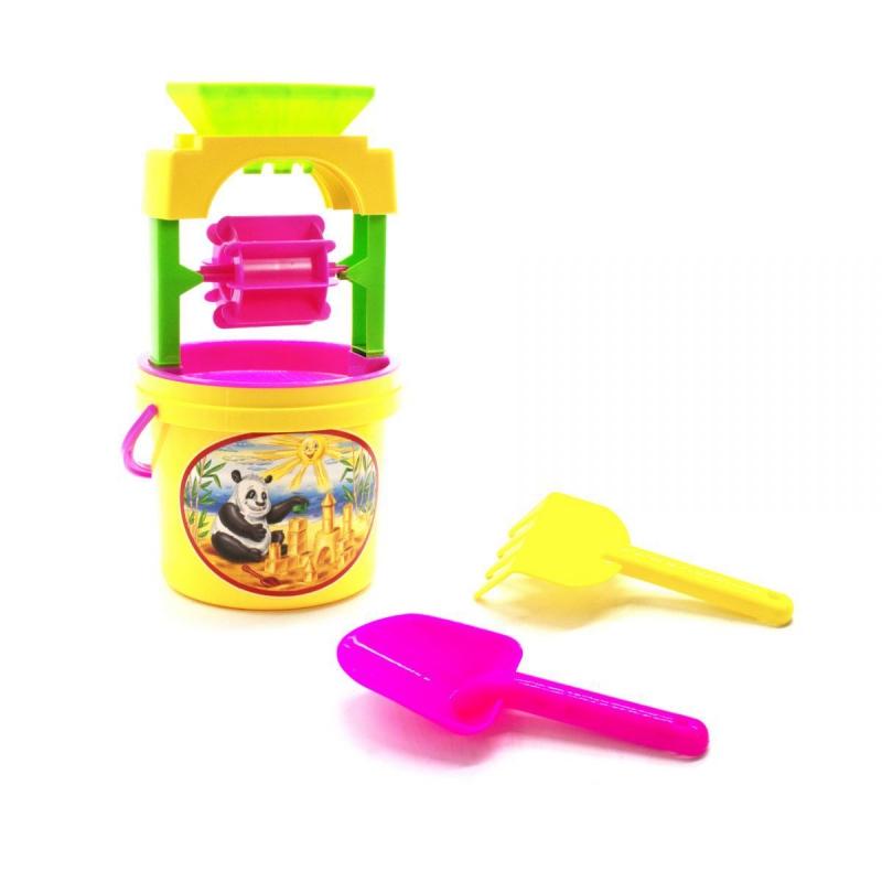 """Песочный набор """"Панда"""" с мельницей желтый 0439 купить в магазине """"Пустун"""""""