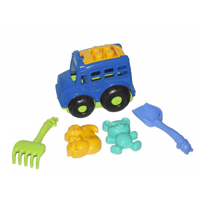 """Автобус """"Бусик"""" с песочным набором синий 0091 купить в магазине """"Пустун"""""""