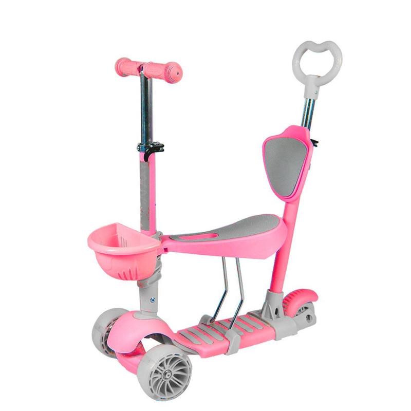 """Самокат с родительской ручкой розовый GS-0019 купить в магазине """"Пустун"""""""