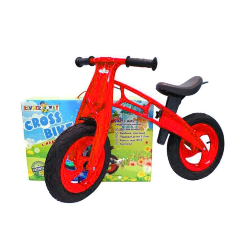 """Беговел Cross Bike с надувными шинами, 12 красный KW-11-016 ОРАНЖ купить в магазине """"Пустун"""""""