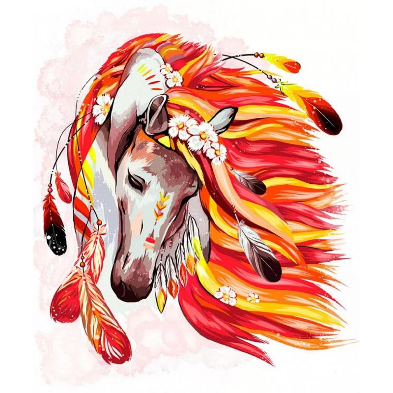 """Картина по номерам """"Огненная лошадь"""" укр KpN-01-07U купить в магазине """"Пустун"""""""