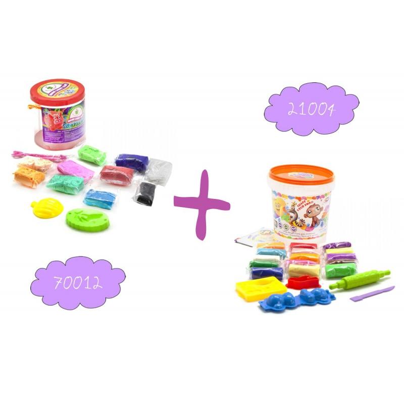 """Набор легкого магического пластилина """"Moon Light Clay"""", 10 цветов + Набор для лепки """"Lovin Do Ассорти 4"""" 41074 купить в магазине """"Пустун"""""""
