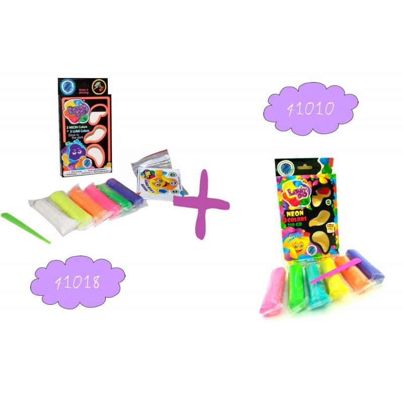 """Набор теста для лепки """"Lovindo"""" 3+3 Neon и Lumi + Набор теста для лепки """"Lovindo"""" Неон, 6 цветов 41084 купить в магазине """"Пустун"""""""