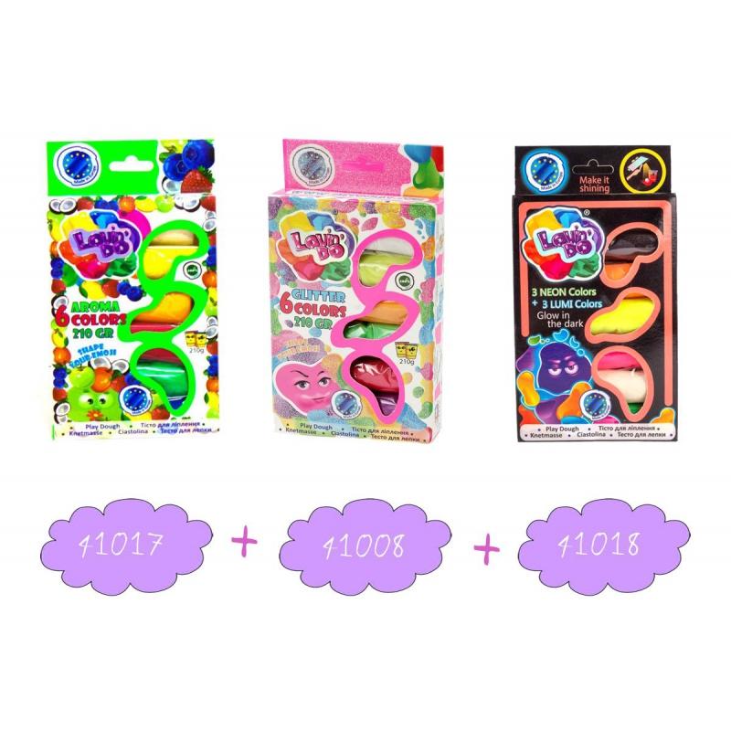 """Набор теста для лепки """"Lovindo"""" с запахом фруктов (6 цветов) + Набор для лепки с блестками """"Loxin Do Ассорти"""" (6 цветов) + Набор теста для лепки """"Lovindo"""" 3+3 Neon+Lumi 41085 купить в магазине """"Пустун"""" Фото 2"""