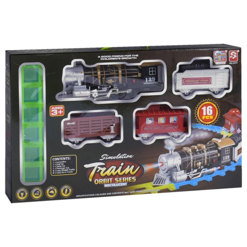 """85658 [3377] Железная дорога 3377 (12) поезд со звуком, светом прожектора и дымом, 16 деталей, в коробке [Коробка]  6965147063971 купить в магазине """"Пустун"""""""