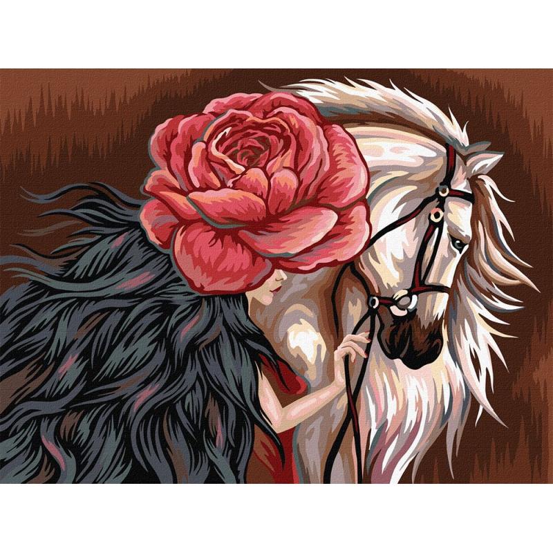 """Картина по номерам """"Белая лошадь"""" KpN-03-05 купить в магазине """"Пустун"""""""
