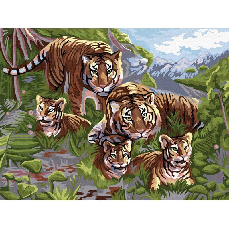 """Картина по номерам """"Семья тигров"""" KpN-03-06 купить в магазине """"Пустун"""""""
