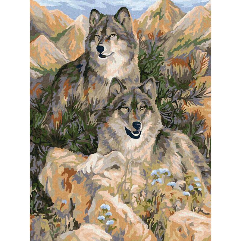 """Картина по номерам """"Пара волков"""" KpN-03-09 купить в магазине """"Пустун"""""""