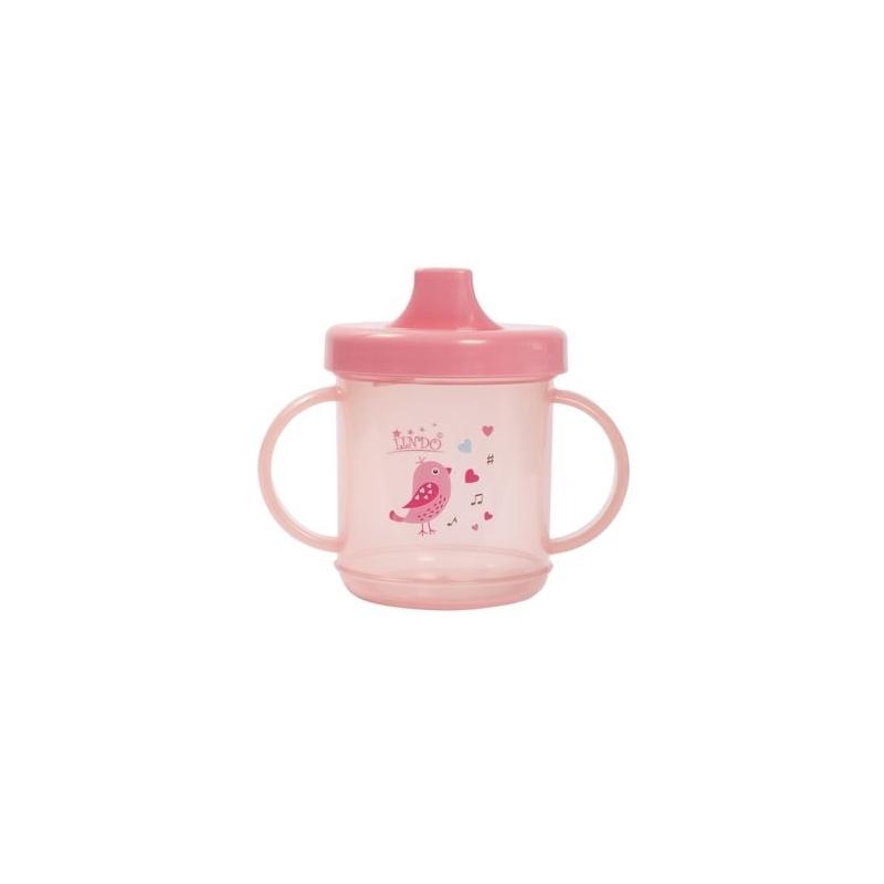"""Чашка непроливайка с ручками 210 мл., розовый LI 700 купить в магазине """"Пустун"""""""