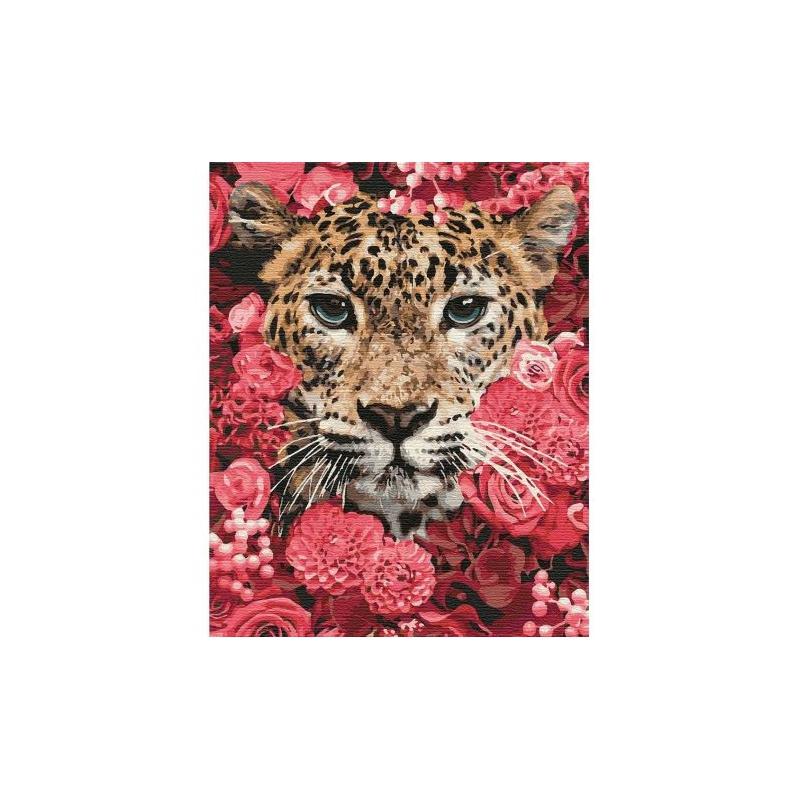 """Картина по номерам """"Леопард в цветах"""" ★★★★★ КНО4185 купить в магазине """"Пустун"""""""