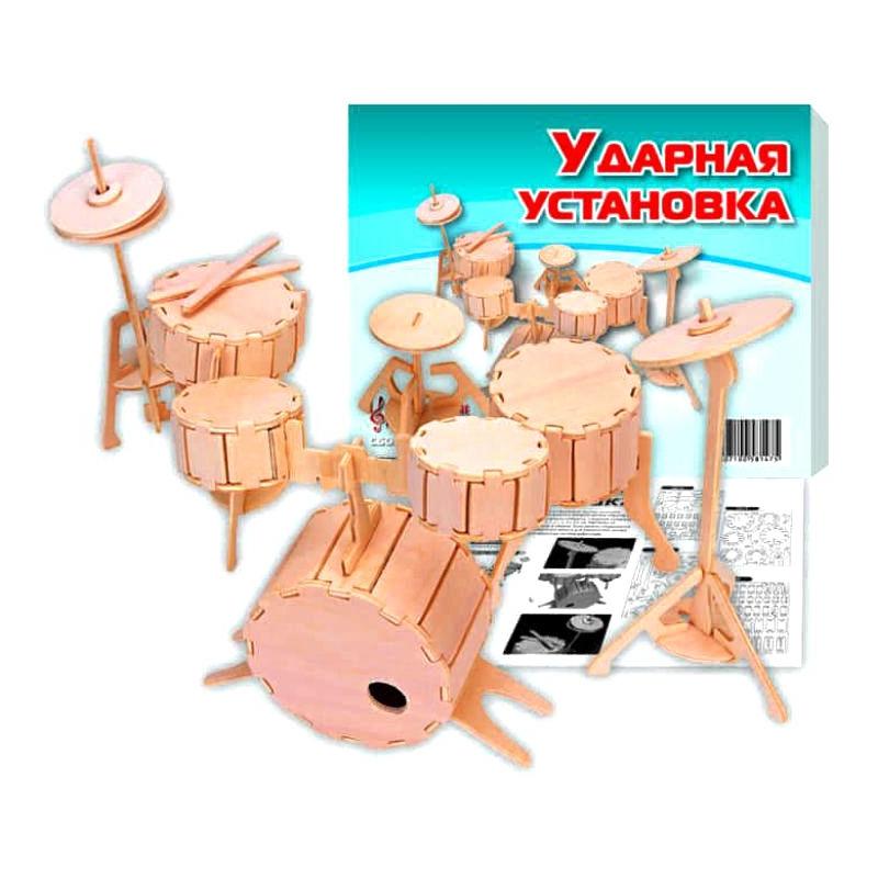 """Деревянный конструктор """"Ударная установка"""" И007 купить в магазине """"Пустун"""""""