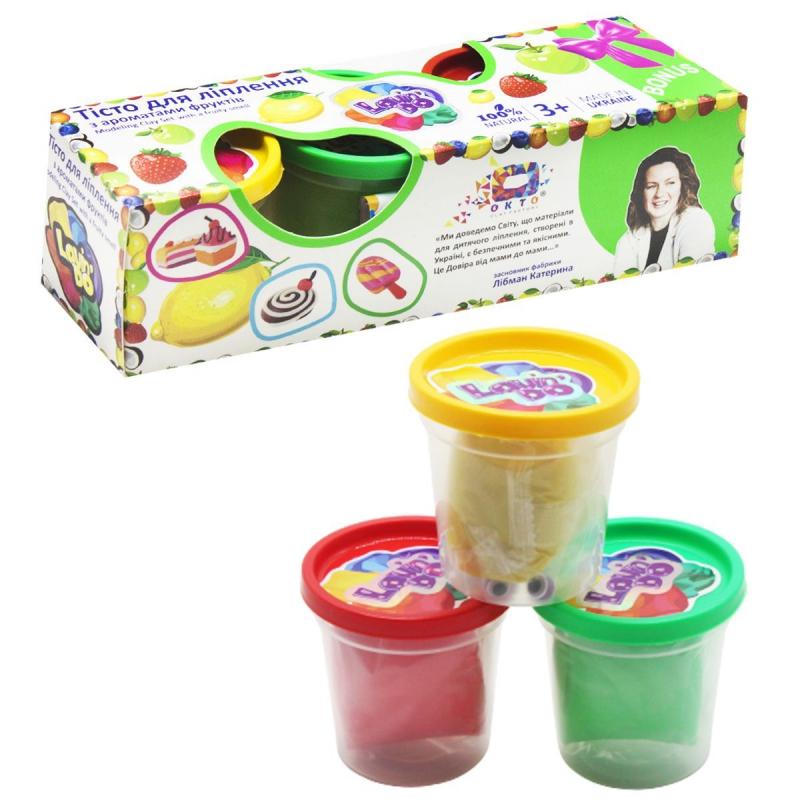 """Тесто для лепки с ароматом фруктов, 3 цвета 41033 купить в магазине """"Пустун"""""""