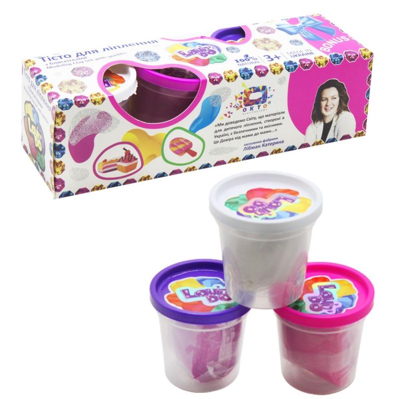 """Тесто для лепки с блесточками, 3 цвета 41037 купить в магазине """"Пустун"""""""
