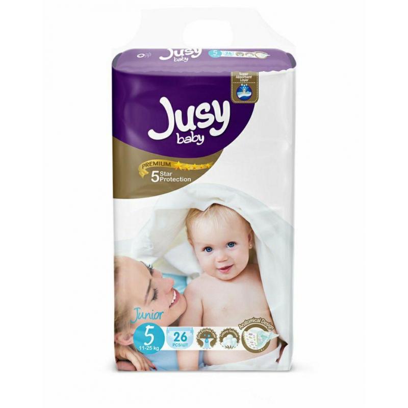 """Детские подгузники """"Jusy junior""""  5 (11-25 кг) Jjunior26 купить в магазине """"Пустун"""""""