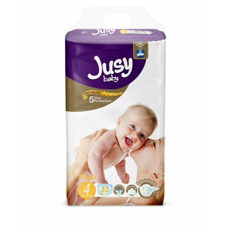 """Детские подгузники """"Jusy maxi""""  4 (7-18 кг) Jmaxi32 купить в магазине """"Пустун"""""""