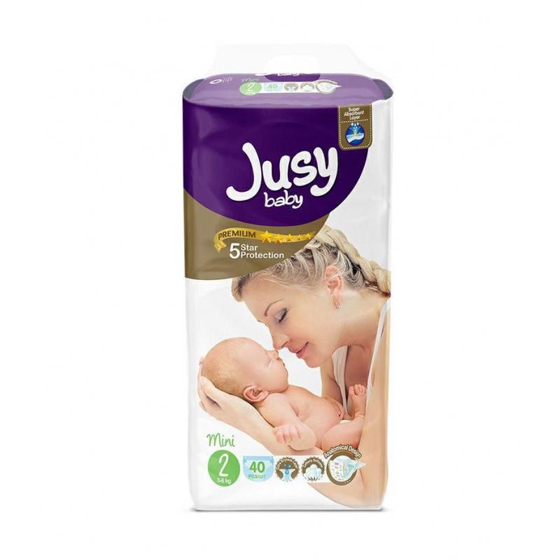"""Детские подгузники """"Jusy mini""""  2 (3-6 кг) Jmini40 купить в магазине """"Пустун"""""""