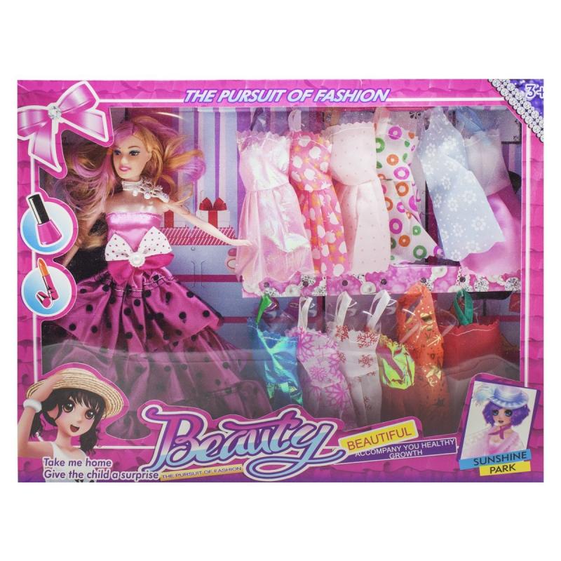"""Кукла с гардеробом, в розовом платье 8149A2 купить в магазине """"Пустун"""""""