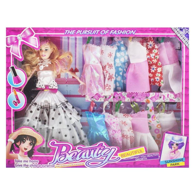 """Кукла с гардеробом, в белом платье 8149A2 купить в магазине """"Пустун"""""""