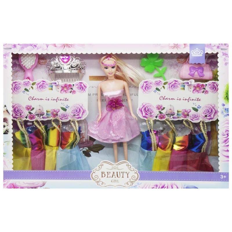 """Кукла с гардеробом (в розовом платье) 013 купить в магазине """"Пустун"""""""
