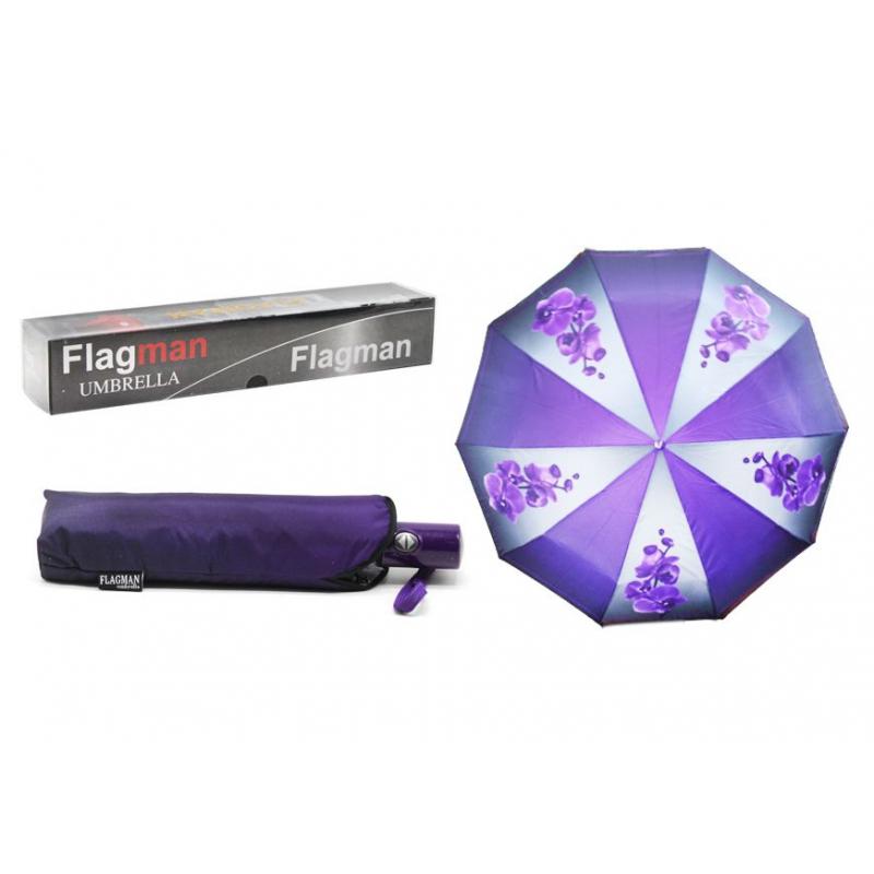 """Зонтик складной """"Flagman. Орхидея"""", фиолетовый 00510/0 купить в магазине """"Пустун"""""""