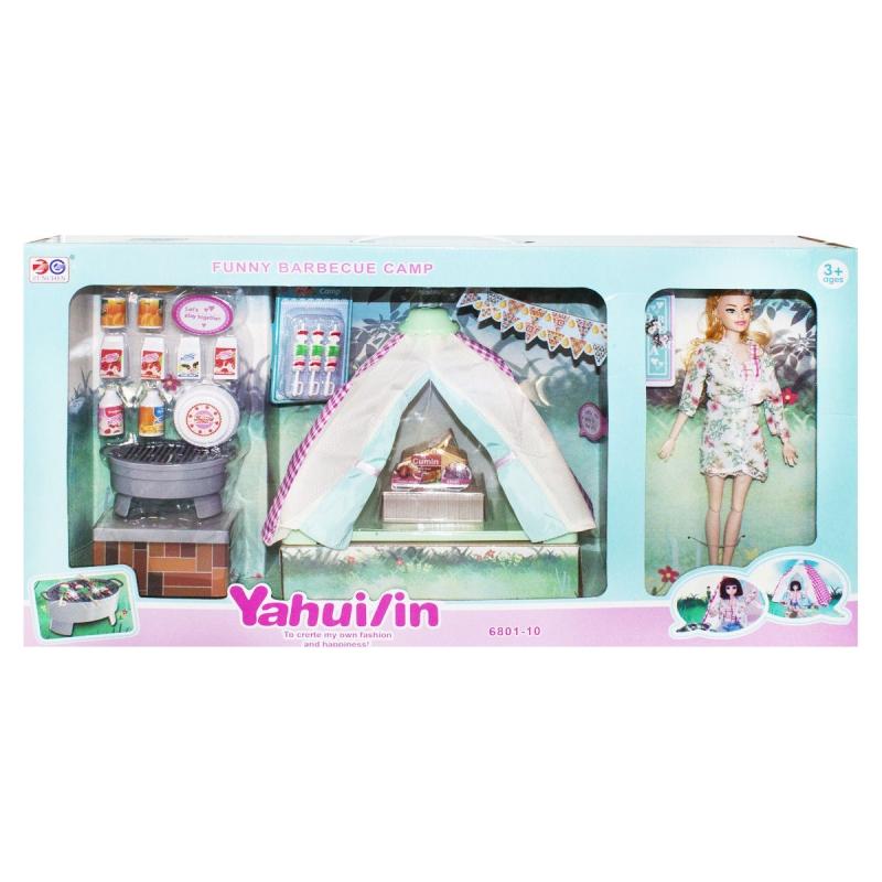 """Игровой набор с куклой и палаткой """"Кемпинг"""" 6801-10 купить в магазине """"Пустун"""""""