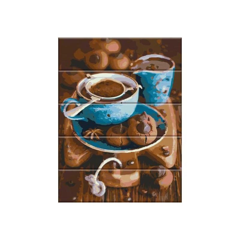 """Картина по номерам на дереве """"Вкус кофе"""" ASW026 купить в магазине """"Пустун"""""""