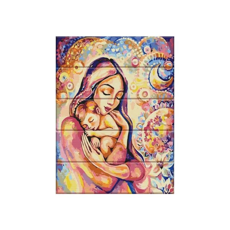 """Картина по номерам на дереве """"Счастье материнства"""" ASW034 купить в магазине """"Пустун"""""""