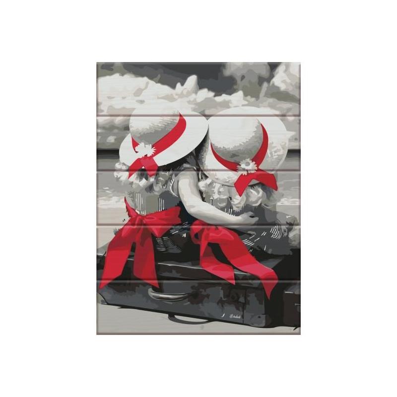 """Картина по номерам на дереве """"Подружки"""" ASW035 купить в магазине """"Пустун"""""""