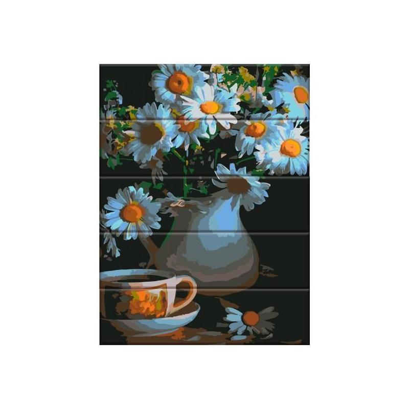 """Картина по номерам на дереве """"Ромашки в вазе"""" ASW047 купить в магазине """"Пустун"""""""