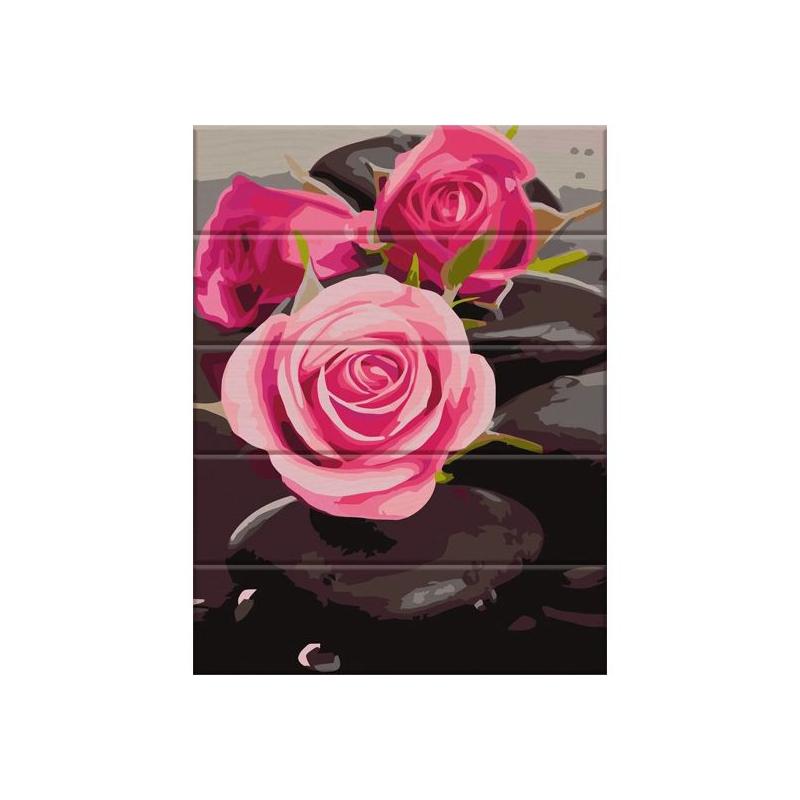 """Картина по номерам на дереве """"Розы на камнях"""" ASW081 купить в магазине """"Пустун"""""""