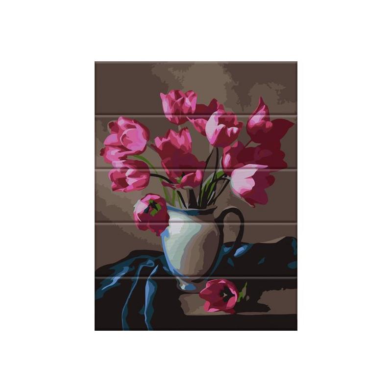 """Картина по номерам на дереве """"Прекрасные тюльпаны"""" ASW083 купить в магазине """"Пустун"""""""