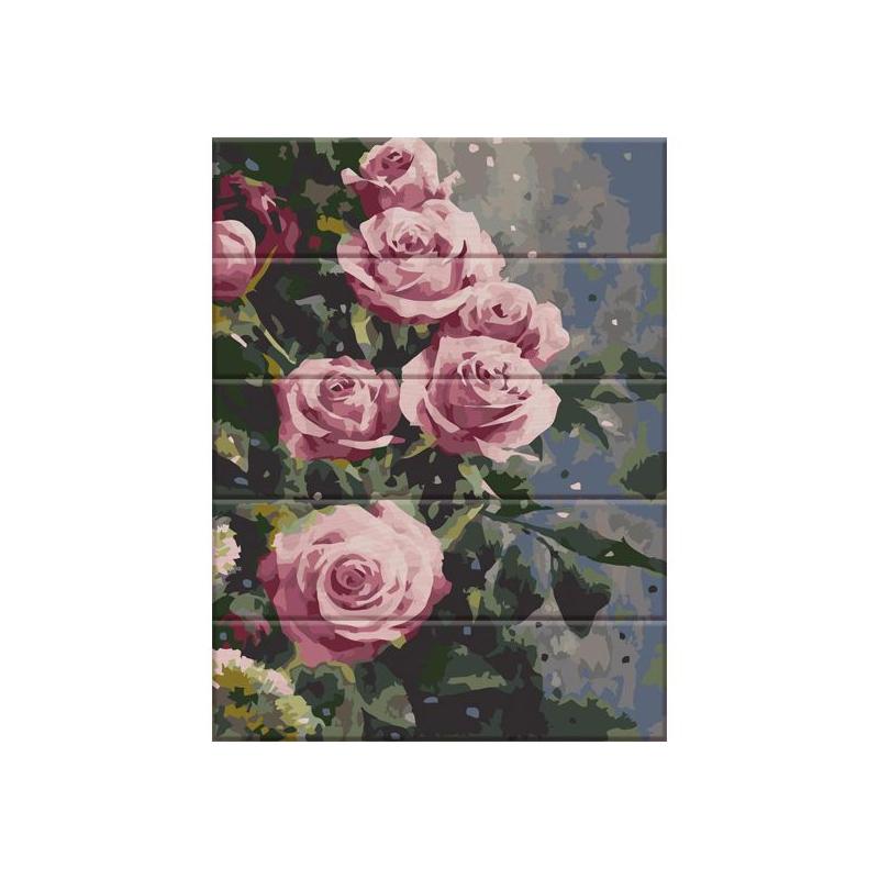 """Картина по номерам на дереве """"Дымчатые розы"""" ASW086 купить в магазине """"Пустун"""""""