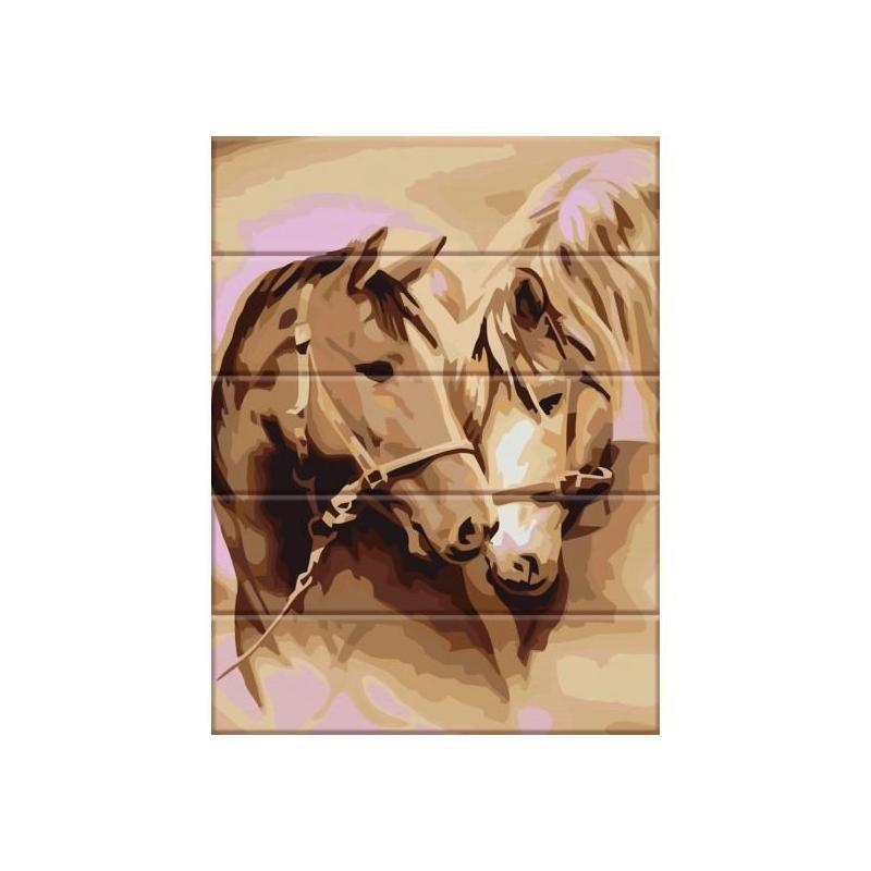 """Картина по номерам на дереве """"Пара лошадей"""" ASW093 купить в магазине """"Пустун"""""""