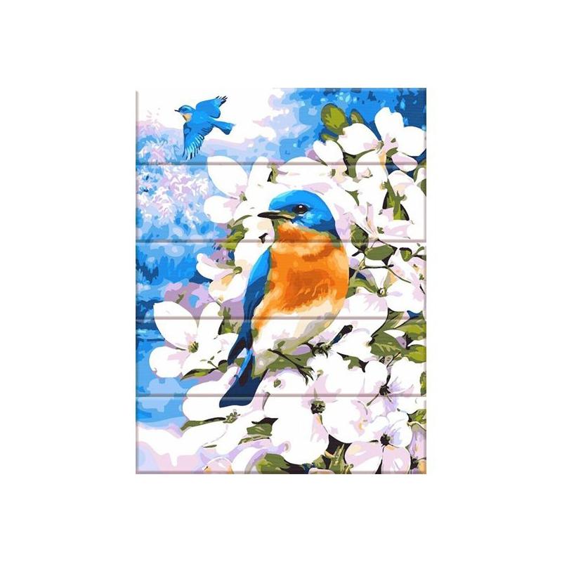 """Картина по номерам на дереве """"Яркая птица"""" ASW101 купить в магазине """"Пустун"""""""