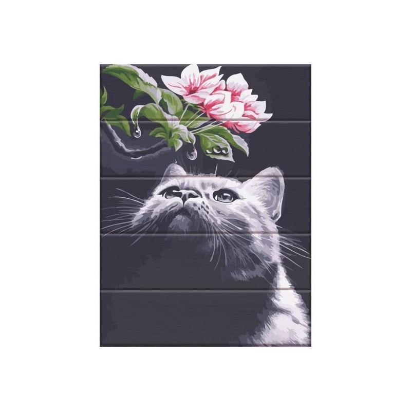 """Картина по номерам на дереве """"Кот и магнолия"""" ASW102 купить в магазине """"Пустун"""""""