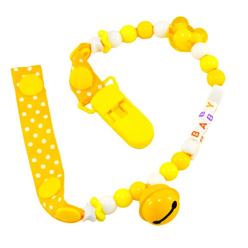 """Клипса для пустышки с колокольчиком, желтый №0500 купить в магазине """"Пустун"""""""