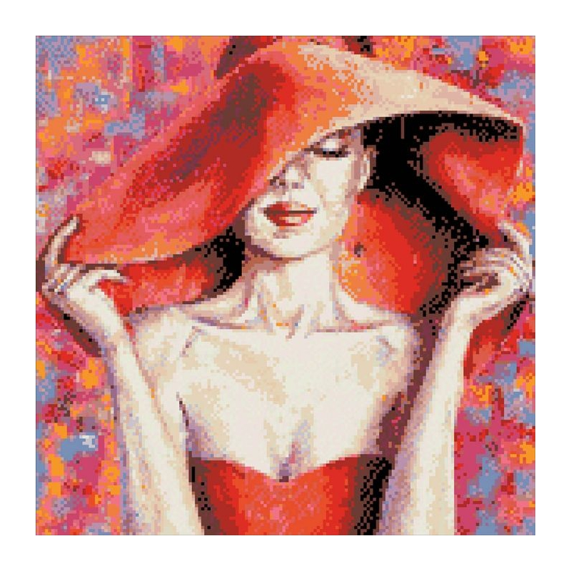 """Алмазная мозаика """"Леди в красной шляпе"""" АМ 1002 купить в магазине """"Пустун"""""""