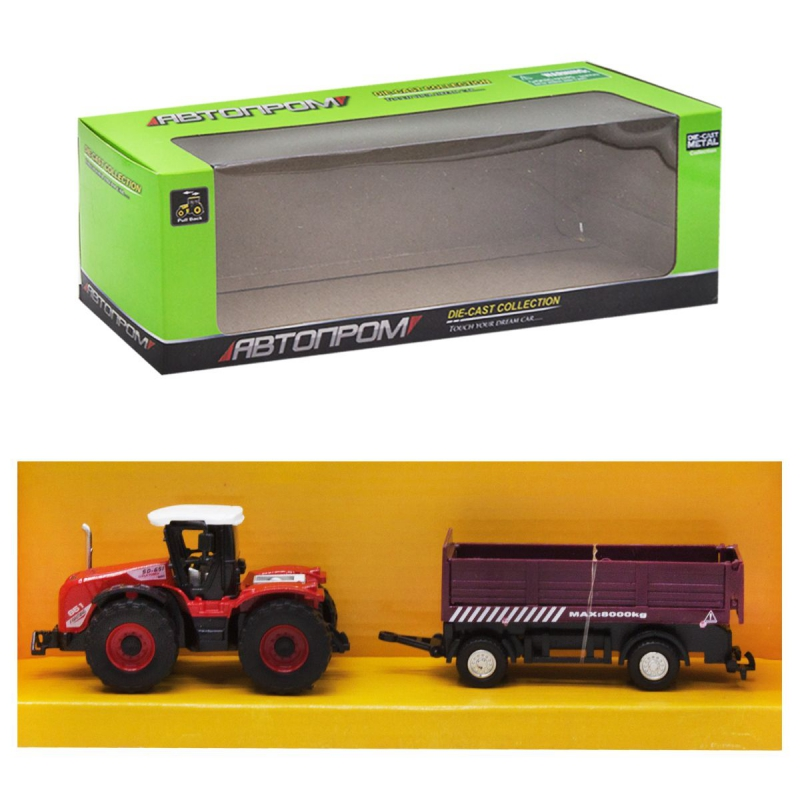 """Машинка """"Автопром. Трактор"""", (бордовый прицеп) 7786-2 купить в магазине """"Пустун"""""""