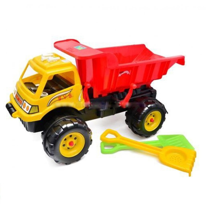 """Машина """"Гигант"""" с песочным набором (желтая) KW-08-802 купить в магазине """"Пустун"""""""