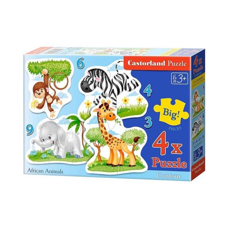 """Пазлы 4 в 1 Африканские животные купить в магазине """"Пустун"""""""