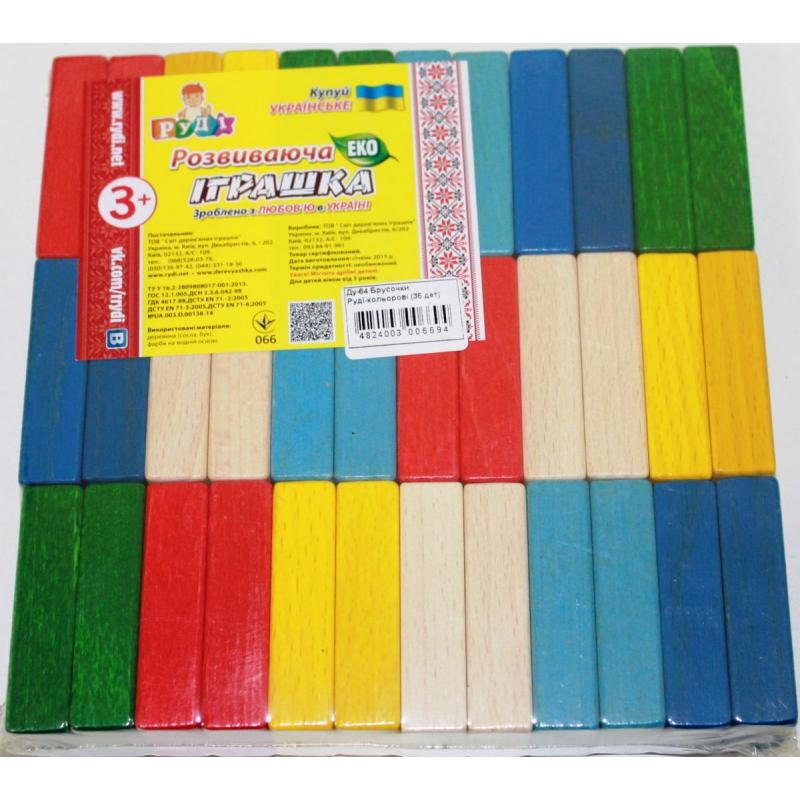 """Брусочки разноцветные (36 деталей) купить в магазине """"Пустун"""""""
