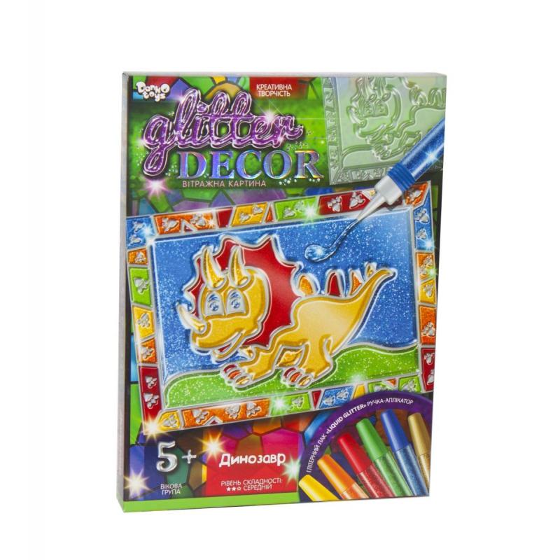 """Набор для креативного творчества Glitter Decor Динозавр укр купить в магазине """"Пустун"""""""